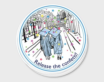 Graduation Sticker, Small Light blue vinyl laptop decal, High School College Congratulations Fun, 4 inch, UNC Chapel Hill Tar Heel Gift