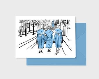 Light Blue Graduation card, pen, ink, watercolor art print, light blue envelope, 5x7 inch blank inside, UNC tar heel gift, 3 grads walking