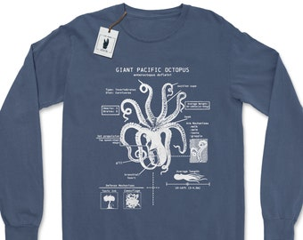 Octopus Anatomy Long Sleeve, Octopus Gifts, Marine Biology Shirt, Octopus T-shirt, Marine Biologist Long Sleeve, Diver Gifts