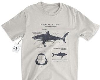 Great White Shark Anatomy T-shirt, Shark Anatomy Shirt, Shark T-shirt, Science Illustration, Shark Gift, Ocean Shirt, Beach Tee