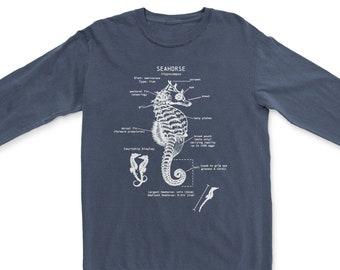 Seahorse Anatomy Long Sleeve, Seahorse Shirt, Marine Biologist Long Sleeve, Seahorse Art, Seahorse Gift, Diver Shirt