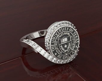 Personalized 925 Silver College Ring, Class Ring,School Ring,Graduation Ring,University Ring, Signet Ring,College Ring, Graduation Gift