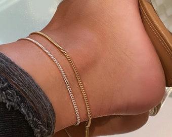 Curb Chain Ankle Bracelet | 14k Gold Filled Anklet, Sterling Silver Anklet, 2.3mm