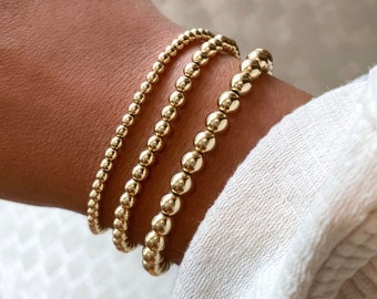 Gold Filled, Sterling Silver, Gold Filled and Sterling Silver Beaded Bracelet | 3mm, 4mm, and 5mm