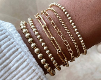 Gold Filled Stacking Bracelets | Beaded, Link Chain, Large Link Chain, Paper Clip, Curb Link Chain