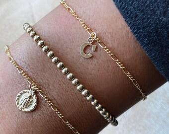 Dainty Figaro Chain Bracelets, Initial Figaro Bracelet, Religious Medallion, 3mm Beaded Bracelet | Gold Filled