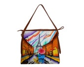 City of Love - Hand Painted Genuine Leather Hand Bags for Ladies