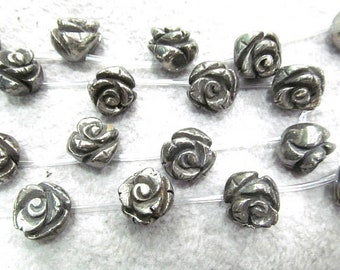 """16MM PALAZZO IRON PYRITE GEMSTONE CARVED ROSE FLOWER FLORA LOOSE BEADS 15.5/"""""""
