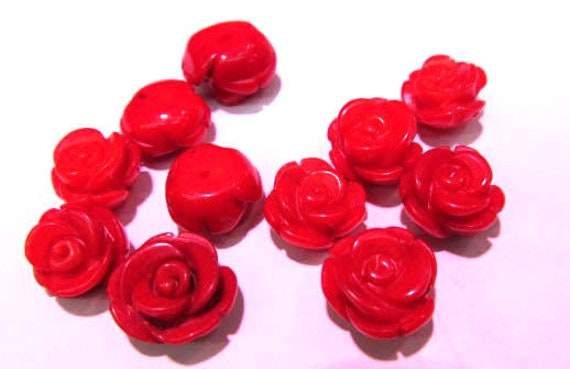 10pcs 8-12mm Half Drilled,red/pink--Natural Bamboo Coral,Rose Flower Fluorial carved Beads,earring rings necklace draft supplies