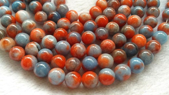 Blurred mixed colors orange green yellow jade stone,6-12mm round ball loose beads necklace bracelet
