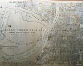 ORIGINAL 1952 Miami Beach Florida Indian Creek Village Country Club Golf Course ATLAS MAP