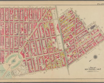 1908 FT GREENE PARK BROOKLYN NY ACADEMY OF MUSIC ATLANTIC LIRR STATION ATLAS MAP