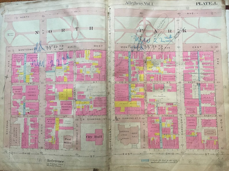 1907 Allegheny City Pittsburgh Pennsylvania Ohio Street to North Avenue /& Sherman Avenue to Union Avenue ATLAS MAP Reproduction