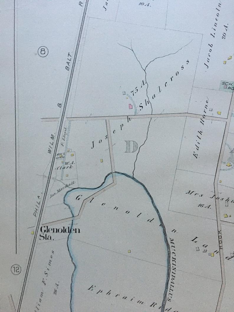 1882 Glenolden Station Darby Creek Delaware County Pennsylvania ATLAS MAP Reproduction