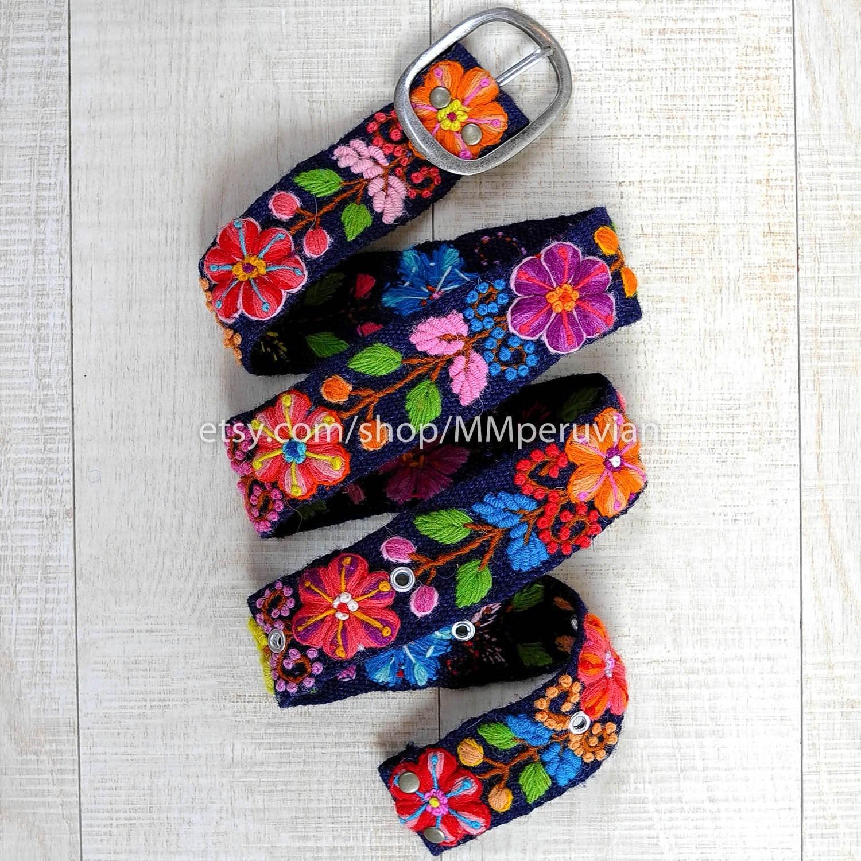 Gifts For Women Womens Belt Peruvian wool belts Waist belt Wool embroidery belt Size M Blue Floral- Floral belts for women