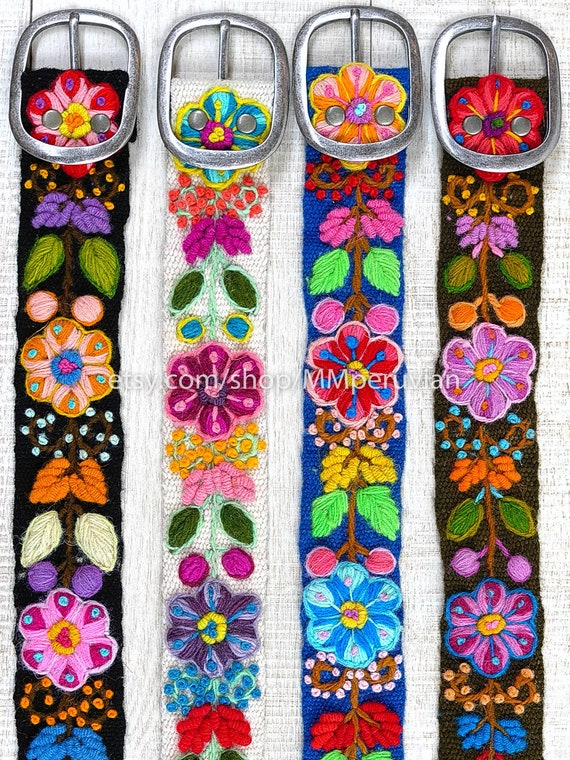 gifts for her peru belts floral ethnic belt Peruvian embroidered belt floral Yellow wool embroidered belts peruvian belts boho belt