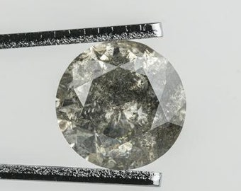 DDS6944 Round Brilliant Cut Faceted Diamond Loose For Ring 0.75CTW5.2mm Natural Clear Black Salt And Pepper Solitaire Loose Diamond