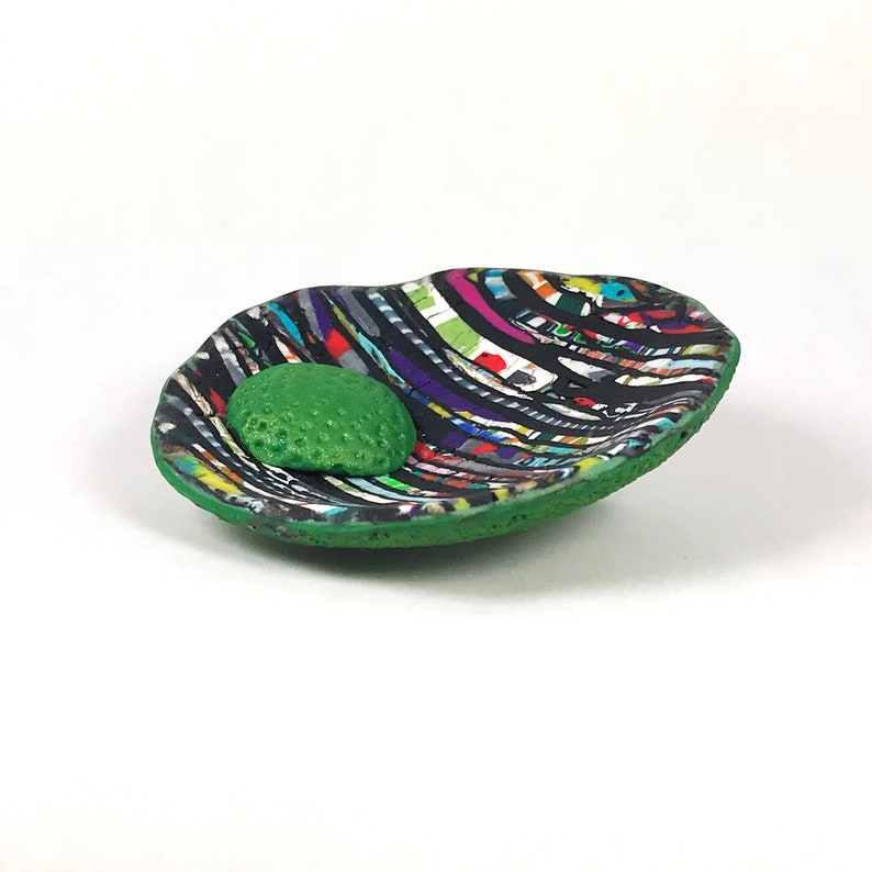 Bold Striking Unusual Elegant Large Modern Statement Organic Black Green Stained Glass Look Polymer Clay Pendant