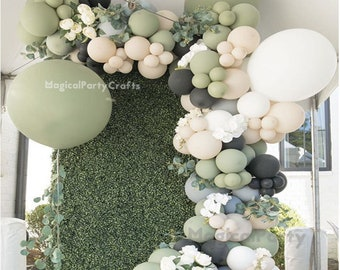 138pcs Retro Sage Green Balloon Garland Arch Kit with Eucalyptus Green, White, Grey and Black for Bridal Shower Birthday Wedding Party