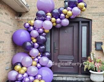 96pcs Matte Deep Purple Balloon Arch,Chrome Gold Balloon Arch Garland Kit,Wedding Party Decoration,Anniversary Decoration,Baby Shower Decor