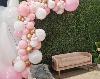 86pcs Pastel Macaron Pink White Party Decoration Balloon Garland Arch Chrome Metal Gold Ballon Decorations Backdrop Baby Shower