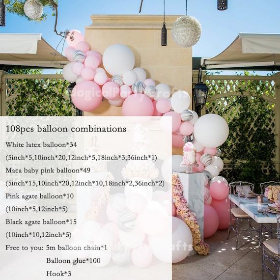 193pcs maca baby pink white balloon garland arch kit  chrome gold balloon set Wedding baby shower Birthday Party St Patrick/'s Day decoration