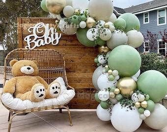88pcs Sand/Eucalyptus Balloon Garland kit Dusty Green White Stone Chrome Gold Balloon Arch for Bridal Shower Baby Shower Wedding Birthday