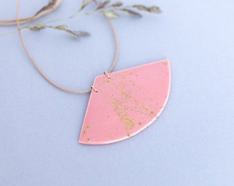 Pink and Gold - Statement porcelain necklace | Pink pendant necklace | Ceramic necklace | Feminine jewelry | Pink geometrical necklace