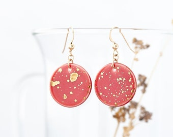 Red Circle Earrings, Coral Red Dangle Earrings with Gold Flecks, Porcelain Earrings Red Dangle, Jewelry Gift for Woman, Red Wedding Earrings