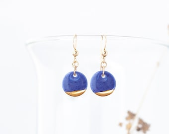 Small Circle Dangle Earrings Blue, Delicate Blue Earrings Gold Dipped, Porcelain Earrings Blue, Jewelry Gift for Girlfriend, Tiny Earrings