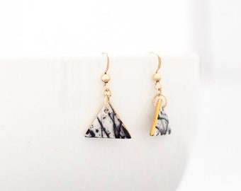Splash - dangle porcelain earrings with 24K gold, Ceramic earrings, Black and white jewelry, Everyday jewelry, Triangle earrings, Abstract