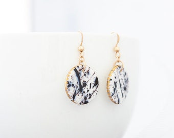 Splash - dangle porcelain earrings with 24K gold, Ceramic earrings, Black and white jewelry, Everyday jewelry, Gift for mom, Circle earrings