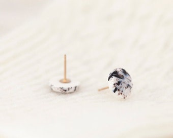 Small circle stud earrings, Porcelain earrings, Porcelain jewelry, Ceramic jewelry, Simple stud earrings, Gift for her, Everyday earrings