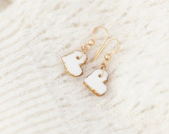 Heart earrings in porcelain and 24K gold, Heart earrings, Love jewelry, Love you gift, Valentine's day gift, Love gift for her, Ceramic gift