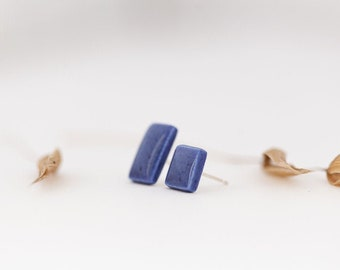Blue Mismatched Earrings | Geometric Minimalistic Earrings | Porcelain Jewelry | Tiny Earring Studs | Small Studs | Simple Blue Studs