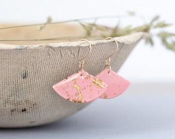Pink and Gold - Statement porcelain earrings | Dangle pink earrings | Ceramic earrings | Feminine jewelry | Pink geometrical earrings