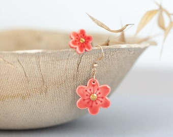 Red flower earrings - porcelain jewelry | Flower ceramic earrings | Ceramic jewelry | Asymmetrical earrings | Red studs | Red dangle earring