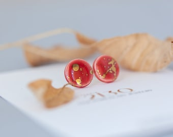 Red and gold porcelain earrings | Circle red studs | Porcelain jewelry | Simple red earrings | Red ceramic jewelry | Slow fashion earrings