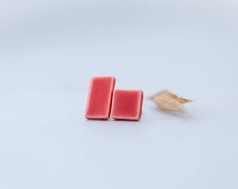 Red Mismatched Earrings | Geometric Minimalistic Earrings | Porcelain Jewelry | Tiny Earring Studs | Small Studs | Simple Red Studs