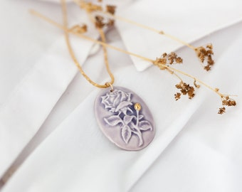 Cameo Necklace, Vintage Style Cameo Necklace, Porcelain Cameo Necklace, Lavender Bridal Necklace, Oval Necklace, Shabby Chic Jewelry