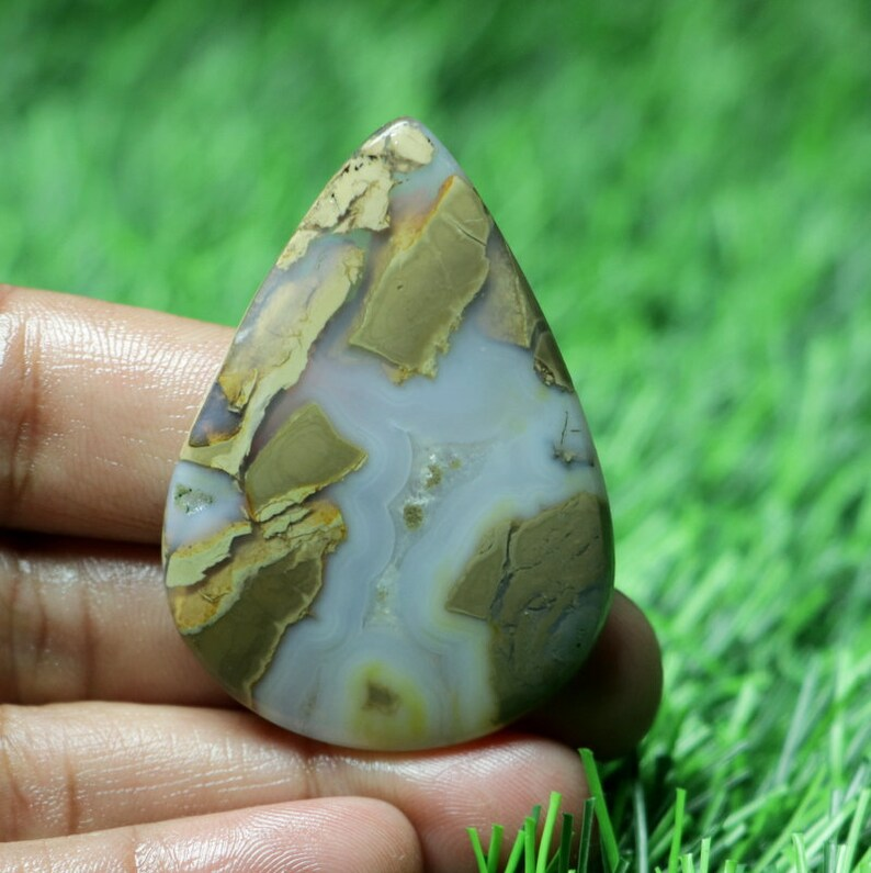 Pear Shape Cabochon 47X35X4 MM BB-5072 Fabulous AAA+ One Quality !! Loose Gemstone For Making Jewelry 51 Ct Top Grade Thunder Agate