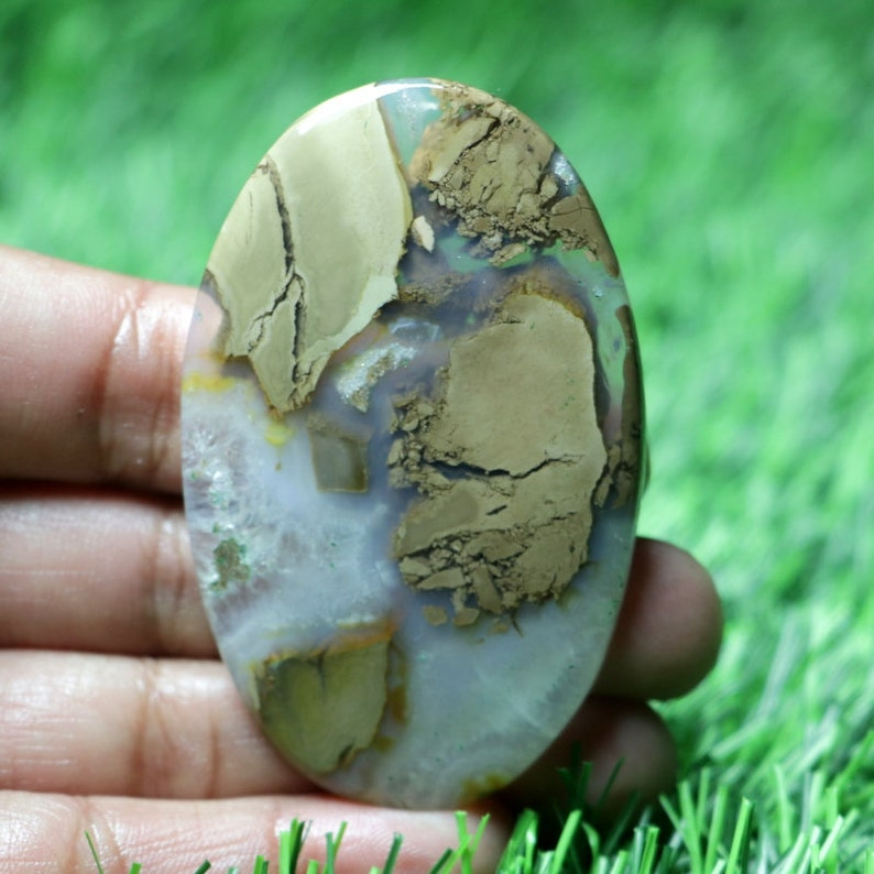 Top Grade Thunder Agate 113 Ct Fanciful AAA+ One Quality !! Loose Gemstone For Making Jewelry Oval Shape Cabochon 64X40X5 MM BB-5075