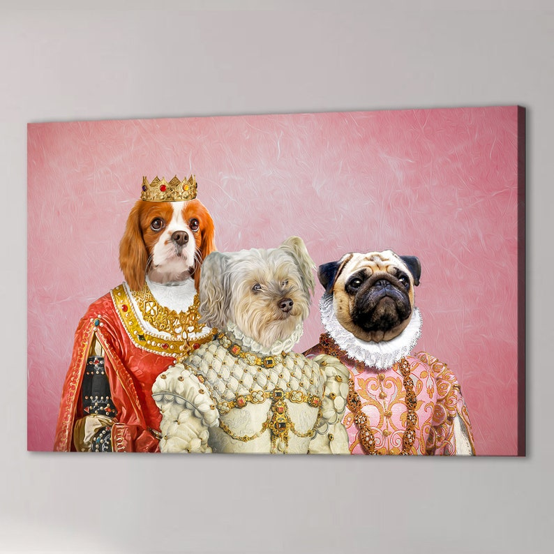 The Royal Ladies Personalized 3 Pet Canvas
