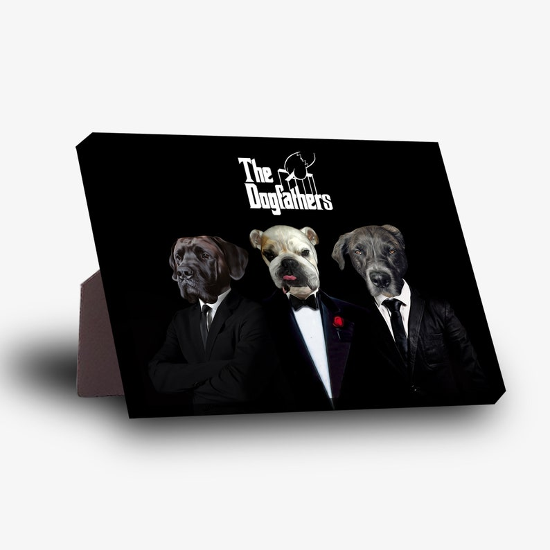 The Dogfathers Personalized 3 Pet Standing Canvas