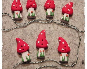 Buttons fly mushroom red polka dots 4-5 cm