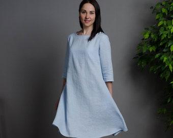 Womens Loose Linen Dress Light Denim color Womens Linen Clothing Linen Dress