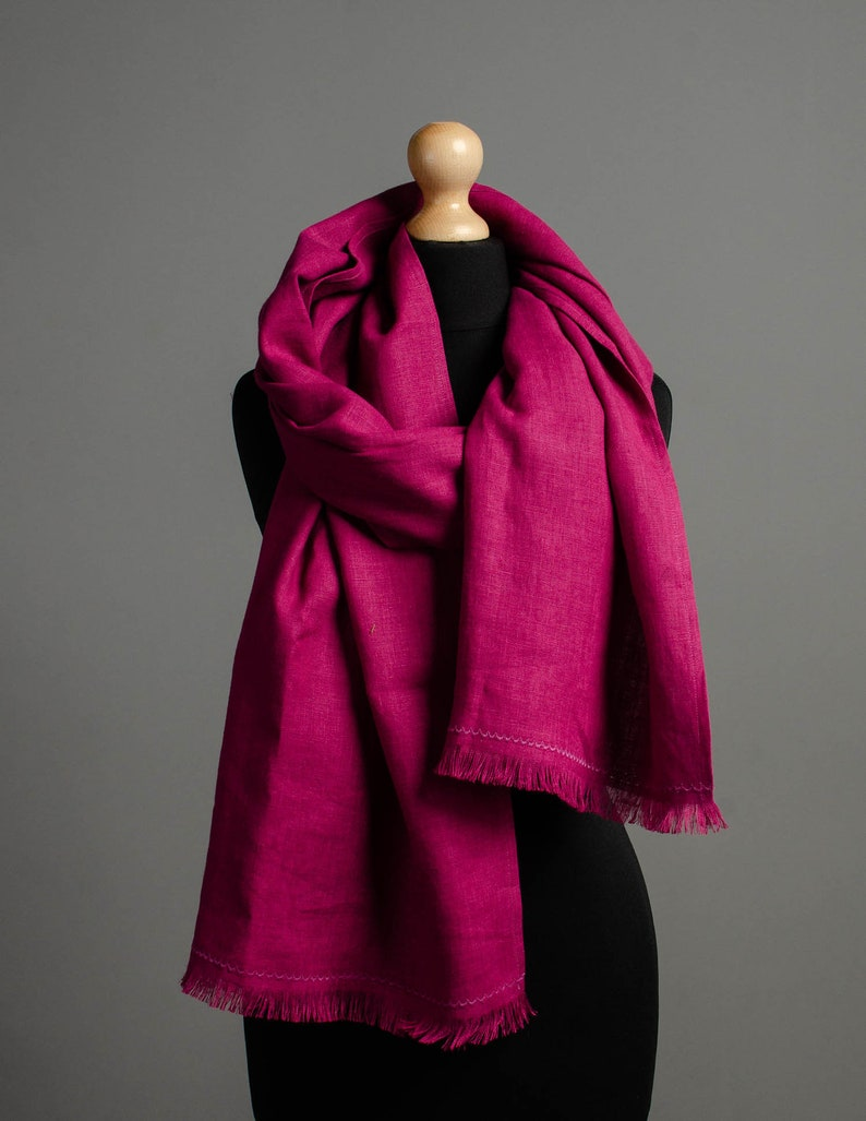 Long and wide rose linen scarf unisex linen scarf for women image 0