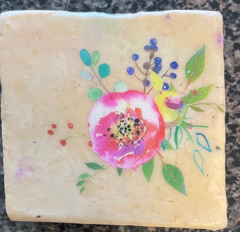 Custom Personalized Farmers soap 5-6 oz Embedded artwork  stays on as you use the soap!