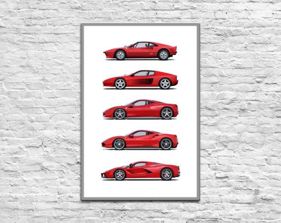 Ferrari Evolution Poster Digital Poster Gift For Man Car Etsy