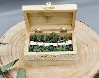 Ringbox Wedding   Ringbox Wood Boho Style   Ringbox Treasure Chest   Ring box with moss   Handmade ring cushion
